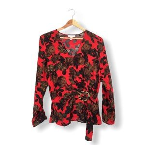 Topshop Blouse Floral Peplum Crossover Black Red